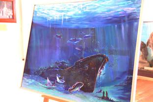 Pintura de cómo están los restos en el fondo del mar