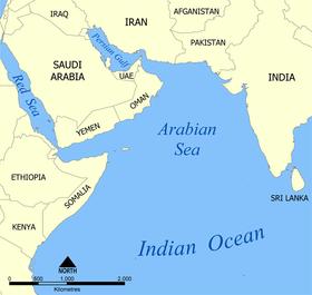 Mar arábigo. Mapa gentileza de Wikimedia