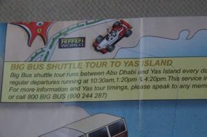 Anuncio en el folleto que nos dieron al comprar el billete.