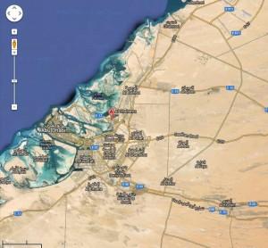 """Aquí tenemos un mapa de Abu Dabi, gentileza de Google, La """"chincheta"""" roja marca la ubicación de la isla de Yas"""