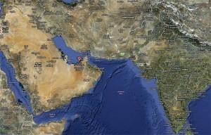 El punto rojo marca la ubicación de la ciudad de Abu Dabi