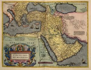 Mapa de la panínsula arábiga de Ortelius. Gentileza de la Biblioteca Británica.