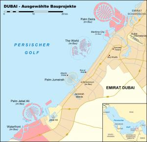 Mapa de Dubái. Gentileza de Wikipedia.