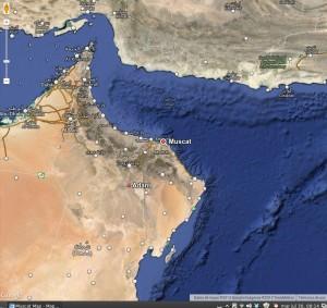 Mapa donde se ubica Mascate --capital de Omán--. Gentileza de Google maps.