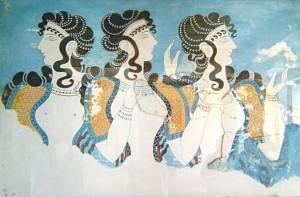 El fresco de las mujeres de Cnosos. Autor cavorite. Gentileza de Wikimedia