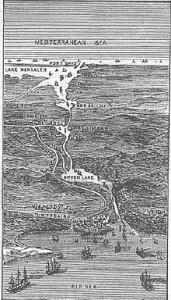 Grabado del canal de Suez de 1881. Gentileza de Wikimedia