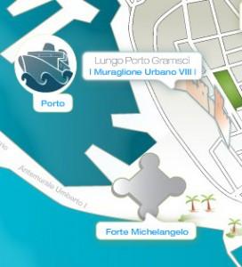 Forma del fuerte y su ubicación respecto a la terminal de cruceros.
