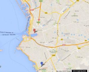 Mapa de Marsella y sus alrededores. De un mapa de Google maps