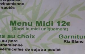 Menú del mediodía 12€