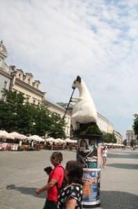Plaza del mercado Cracovia. Hay una oveja tocando una trompeta. Eso indica que en algún sitio próximo por las noches hay jazz en vivo