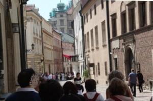 Calle Canónigos. Al fondo Castillo Wawel