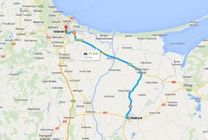 Camino desde Gdańsk a Malbrok
