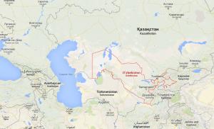 En rojo las frtonteras de Uzbekistan