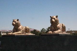 Leones dorados cerca de la mezquita del viernes de Bibi-Khanym