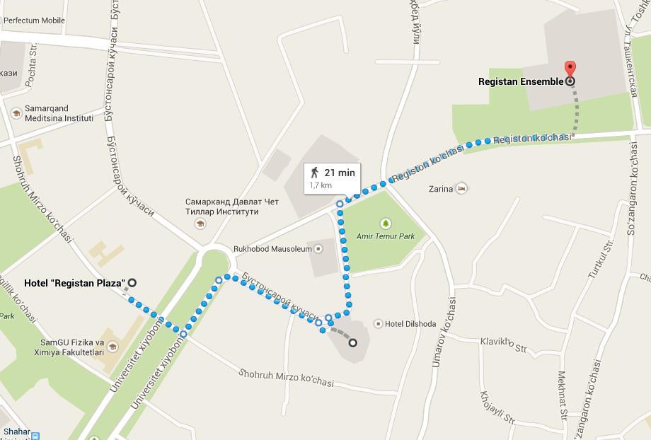 Desde el hotel Registan Plaza a la Plaza de Registan. Mapa gentileza de Google Maps