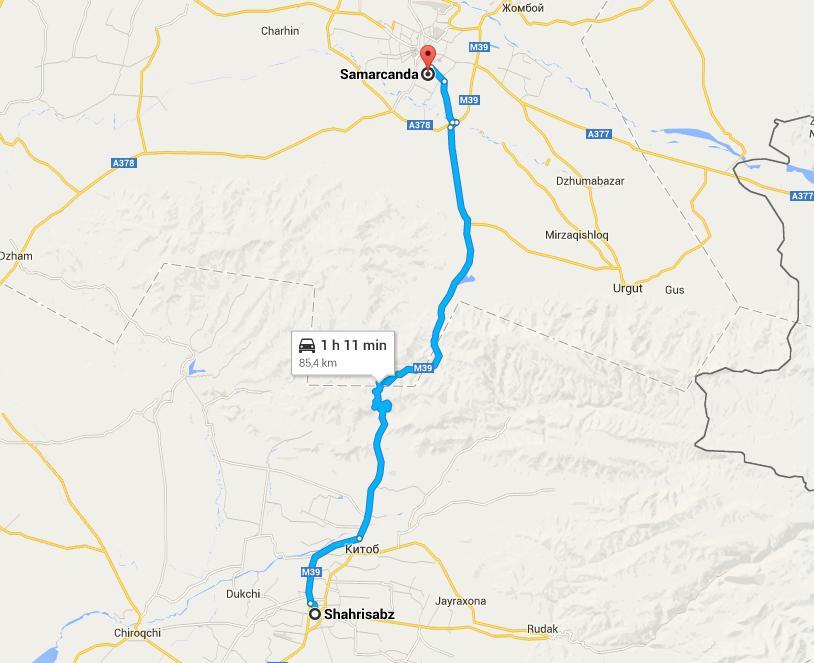 De Samarcanda a Shakhisabz, ruta directa
