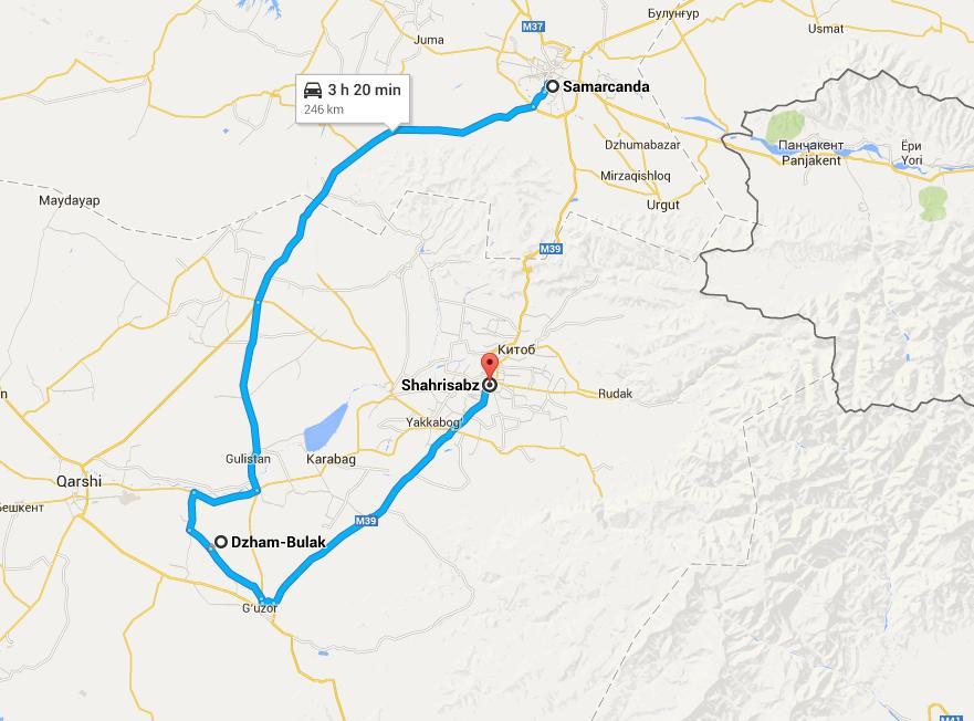 La ruta que seguimos. Mucho más larga pero en llano. Mapas y ruta gentileza de Google Maps