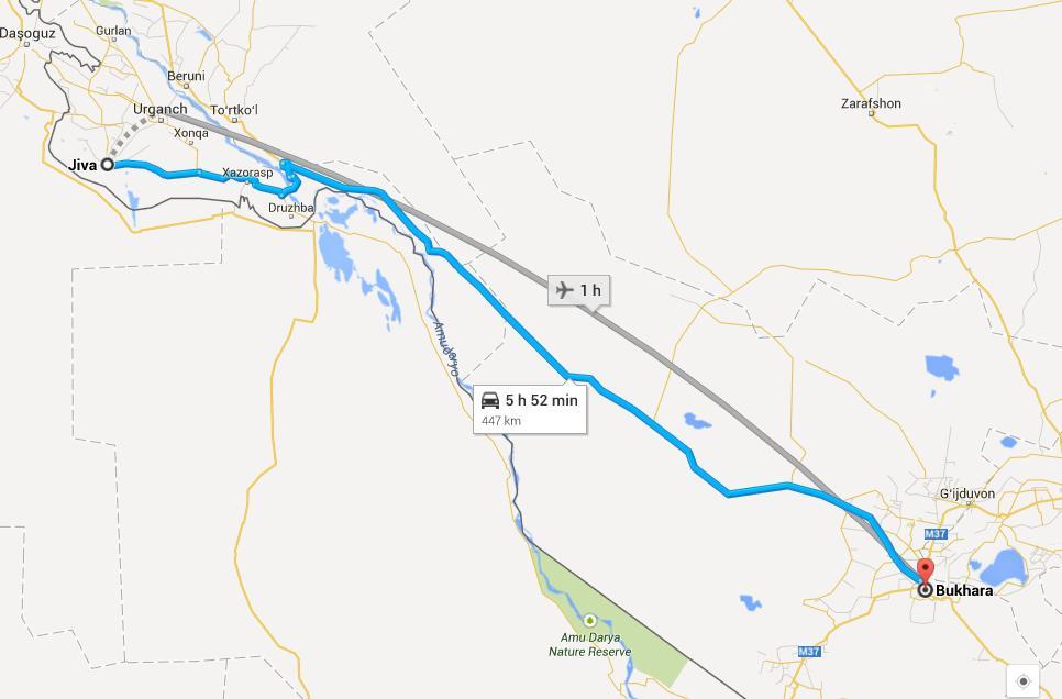 Ruta desde Bujará a Jiva. Mapa gentileza de Google Maps