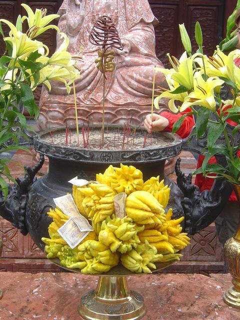 Ofrendas a la diosa de la misericordia. La mano con el impermeable rojo es española