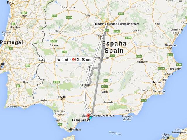 Fuengirola a Málaga en tren de cercanías. Málaga-Madrid en AVE