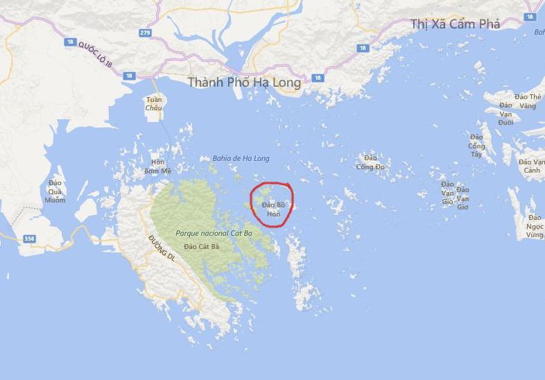 Ubicación de la isla Bo hòn