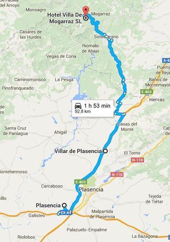 Ruta de Mogarraz a Plasencia. Mapas de Google Maps.
