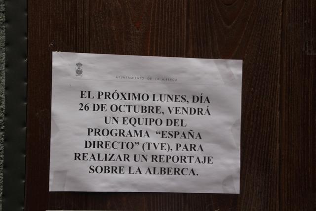 Aquí nos informan de que un equipo de TVE irá a hacer un reportaje sobre La Alberca.