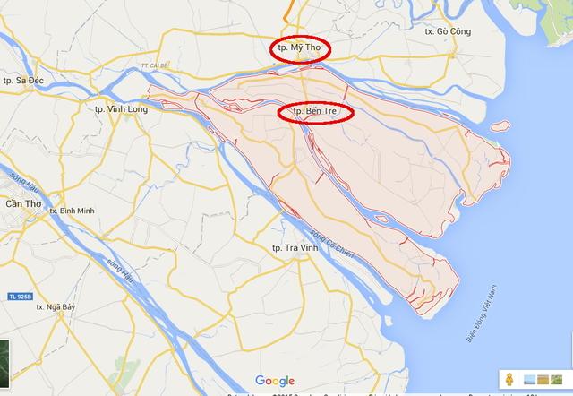 Provincia Ben Tre en el delta del Mekong. (En rojo)