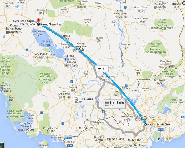Viaje desde Ho Chi Minh (Saigón) hasta la ciudad de Siem Reap.