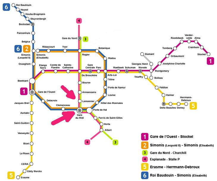 Plano del metro de Bruselas